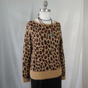 Ann Taylor Leopard Print Wool Blend Crew Neck